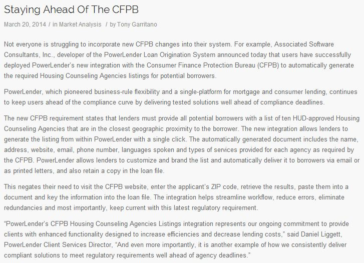 Staying Ahead of the CFPB - Tony Garritano
